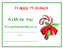Candy Cane Christmas Certificate Template