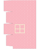 Cupcake Box Template - Pink House With White Dots