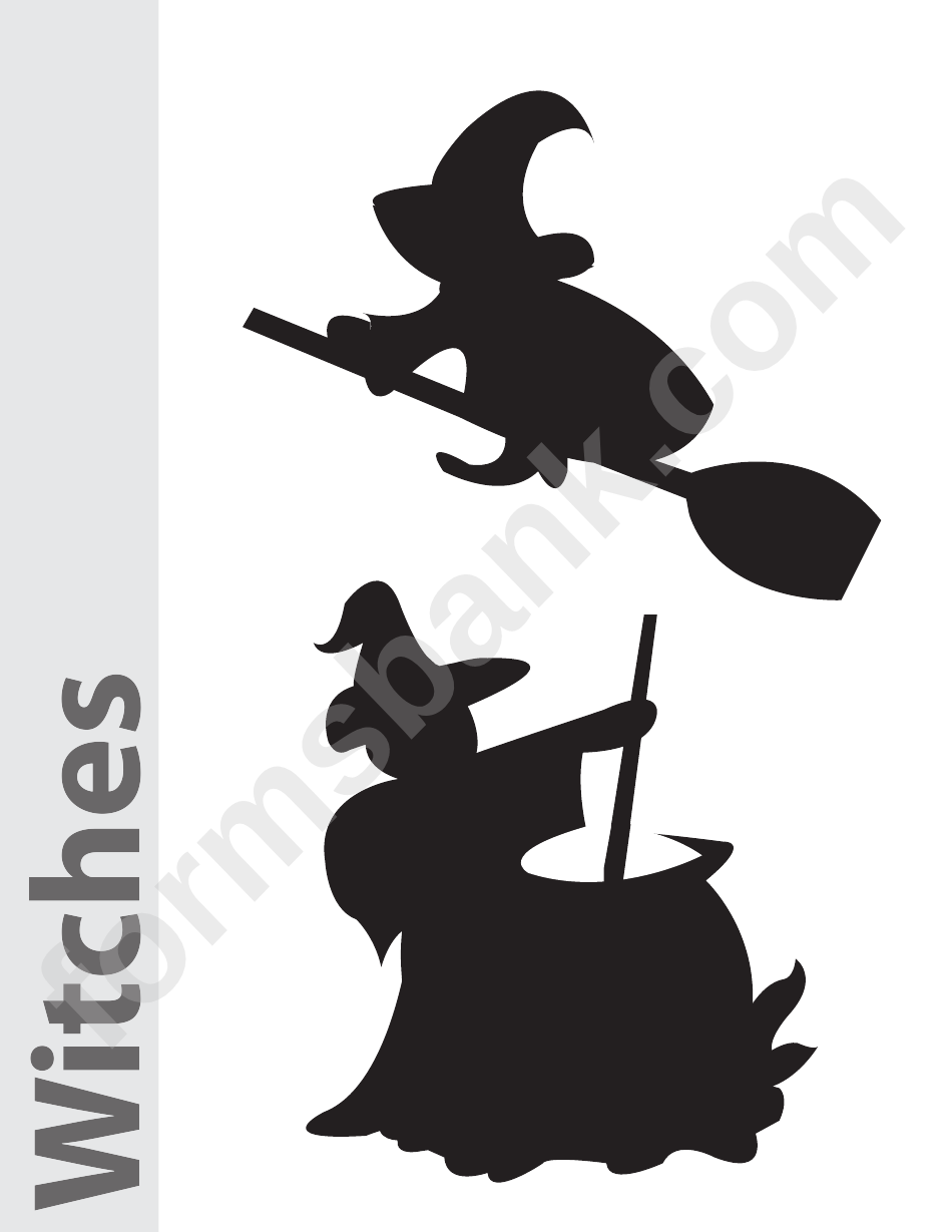 Witches Pumpkin Carving Pattern Template Printable Pdf Download
