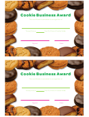 Cookie Business Award Certificate Template