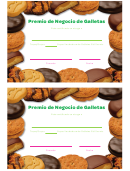 Cookie Business Award Certificate Template (spanish Version)