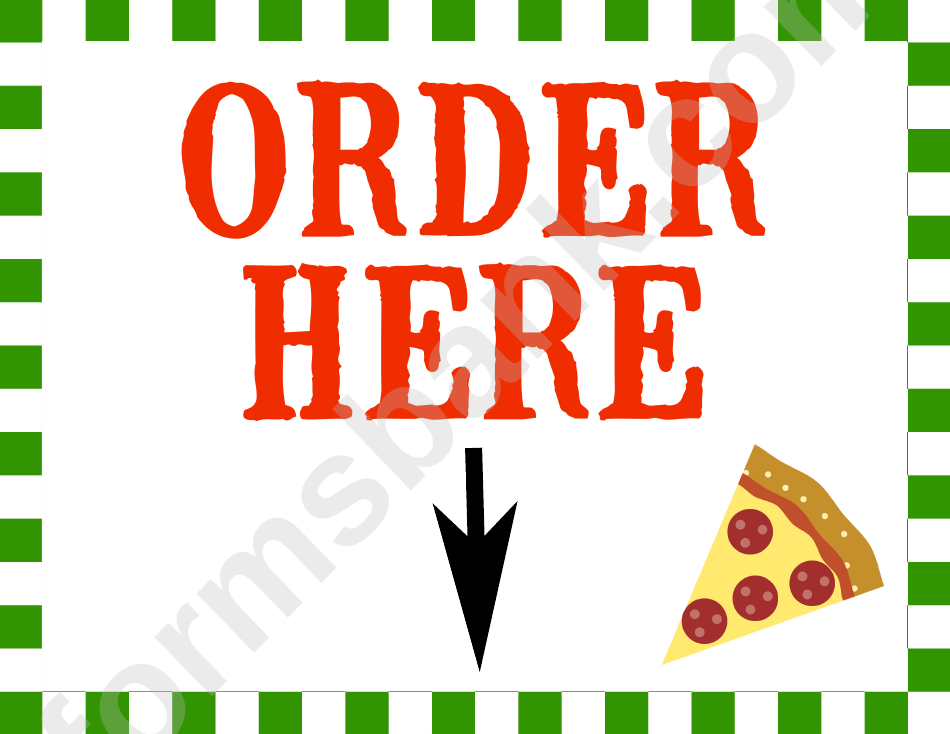 Pizza Order Sign Template
