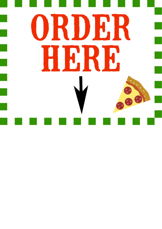 Pizza Order Sign Template Printable pdf