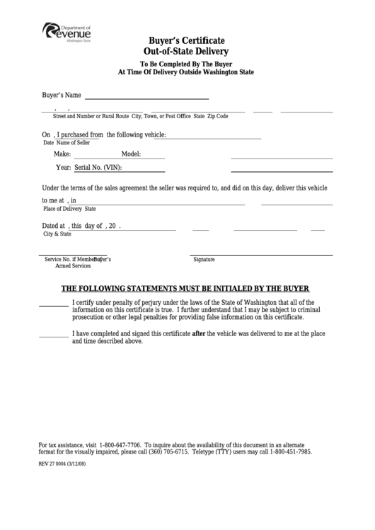 form washington state rev delivery certificate buyer printable