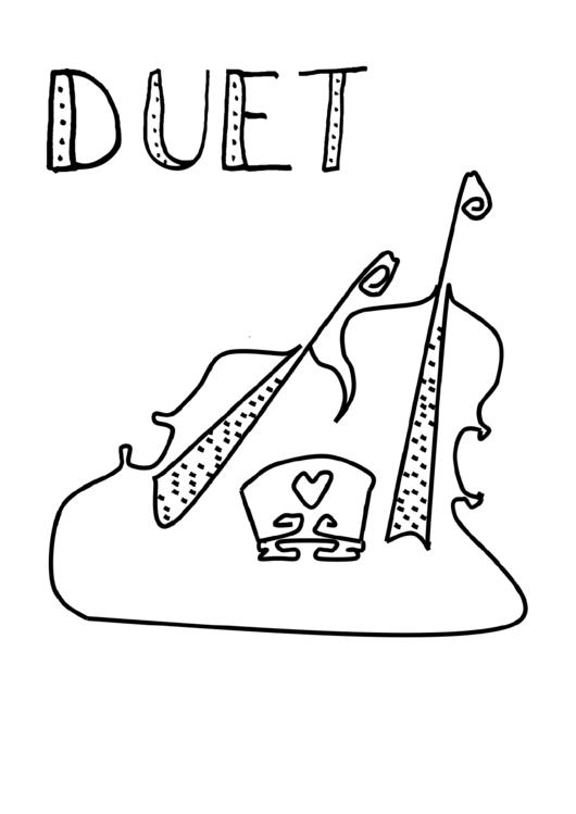 Two Violins Coloring Sheet
