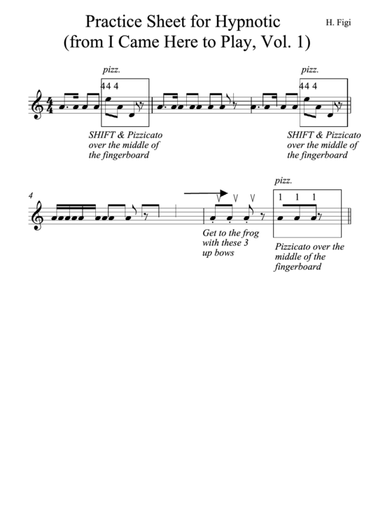 Practice Sheet For Hypnotic (From I Came Here To Play, Vol. 1) Printable pdf