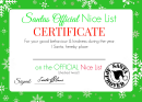 Santa's Official Nice List Certificate - Green