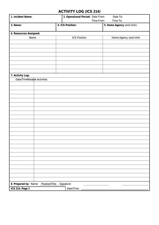 Form Ics 214 - Activity Log