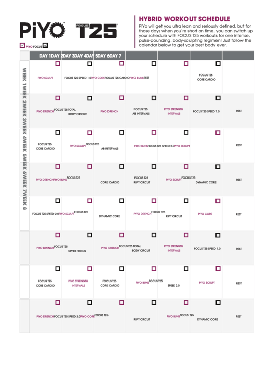 Hybrid Workout Schedule Template