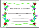 Lady Bird Certificate Template