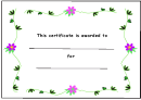 Flower Style Certificate Template