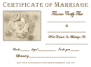 White Rose Cursive Certificate Of Marriage Template