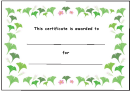 Spring Flower Certificate Template