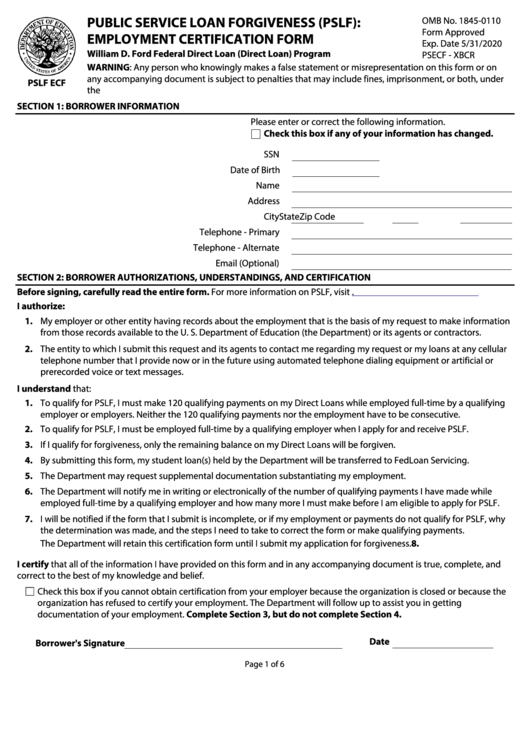 form pslf certification forgiveness loan employment service education pdf department printable data