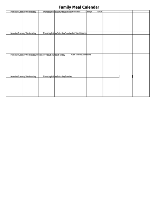 Family Meal Calendar Template
