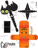 Paper Cat & Pumpkin Paper Model Templates