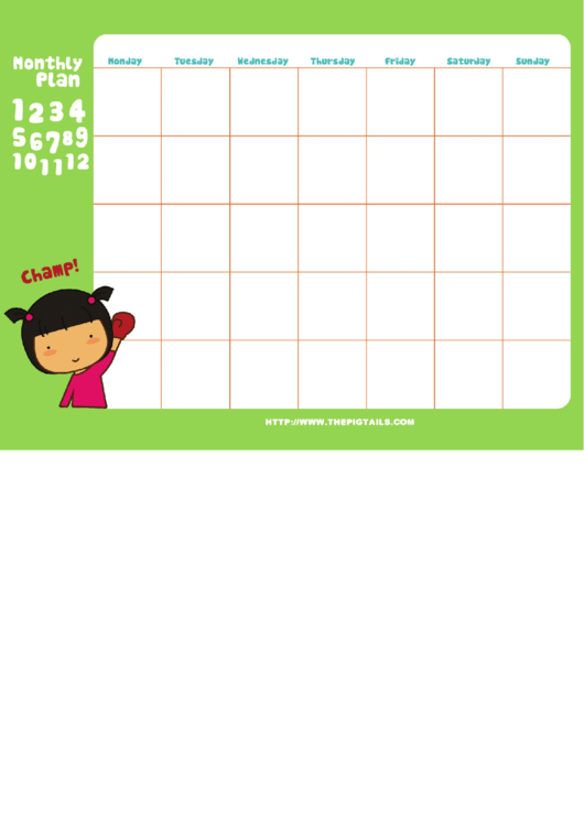 Study & Champ Monthly Plan Template
