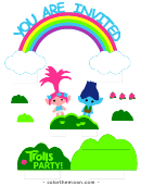 Trolls Party Kids Birthday Party Invitation Template