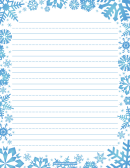 Blue Snowflakes Winter Writing Paper