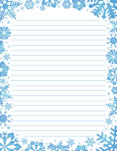 Blue Snowflakes Lined Winter Writing Paper