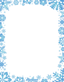 Blue Snowflakes Blank Stationery (without Lines) Winter Writing Paper