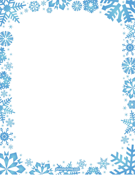 Blue Snowflakes Blank Stationery (Without Lines) Winter Writing Paper Printable pdf