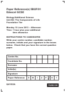 Biology/additional Science The Components Of Life Biology Worksheets