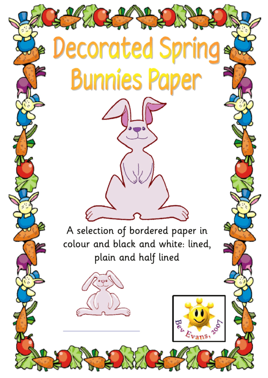 Decorated Spring Bunnies Paper Template