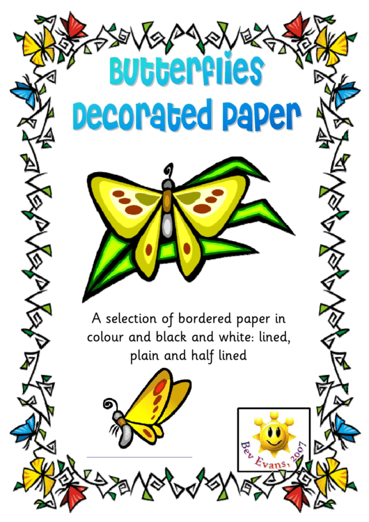 Butterflies Decorated Paper Template