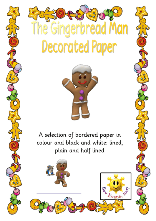 The Gingerbread Man Decorated Paper Template