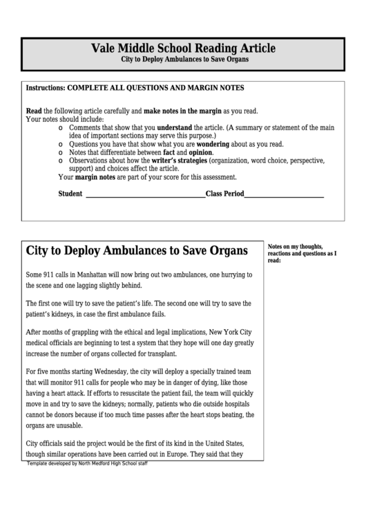 City To Deploy Ambulances To Save Organs - Middle School