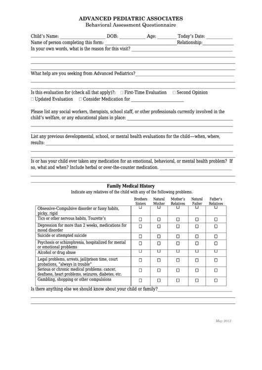 Behavioral Assessment Parent Questionnaire - Advanced Pediatric Associates