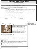 Shakespearean Glossary - Middle School Reading Article Worksheet