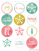 Winter Holidays Cutout Lables Templates