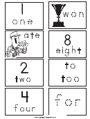 Homophone Number Cards Tracing Sheet