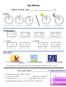La Hora Spanish Worksheet Template