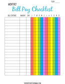 Multicolor Monthly Bill Payment Checklist