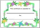 Flowers And Butterflies Certificate Template