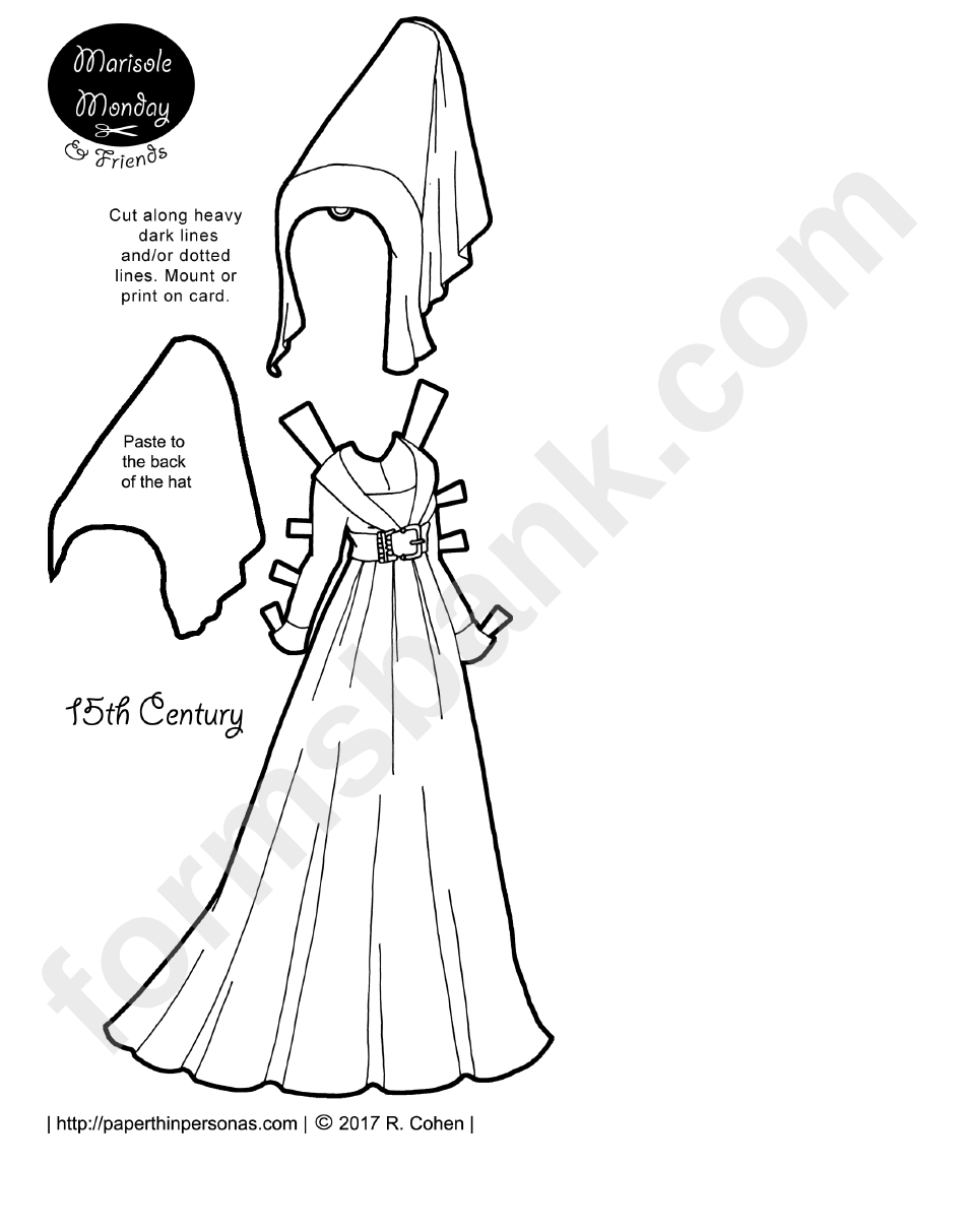 15th Century Clothes Paper Doll Template
