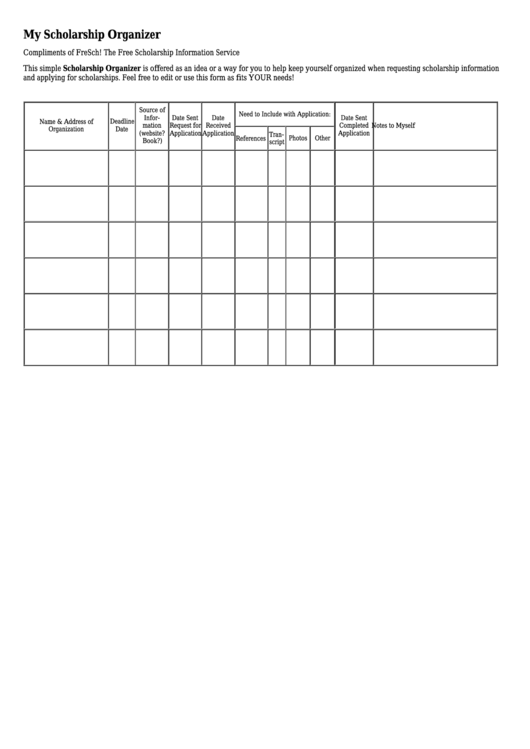 My Scholarship Organizer Template printable pdf download