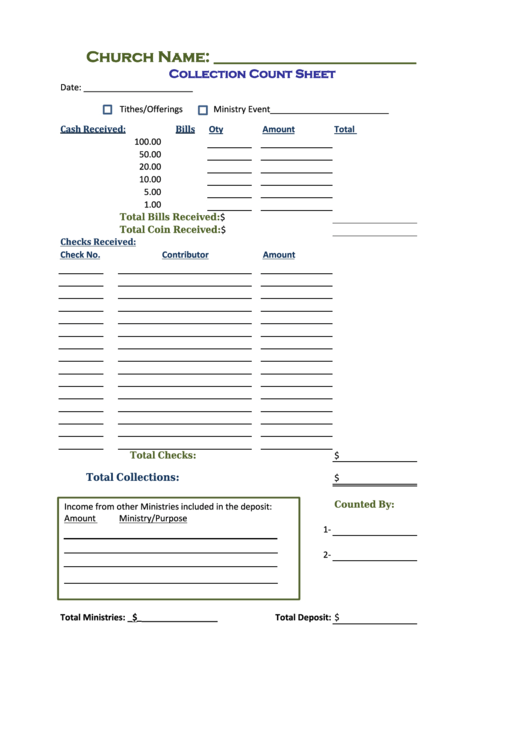 Church Collection Count Sheet printable pdf download