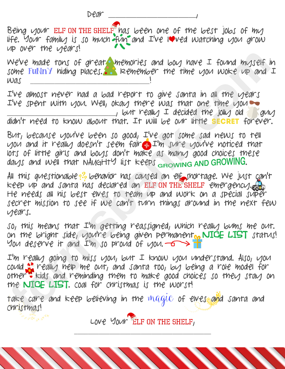 Elf On The Shelf Goodbye Letter Template printable pdf download