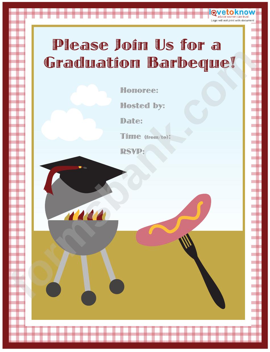 Graduation Barbecue Invitation Template
