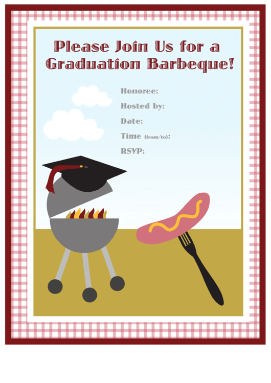 Graduation Barbecue Invitation Template