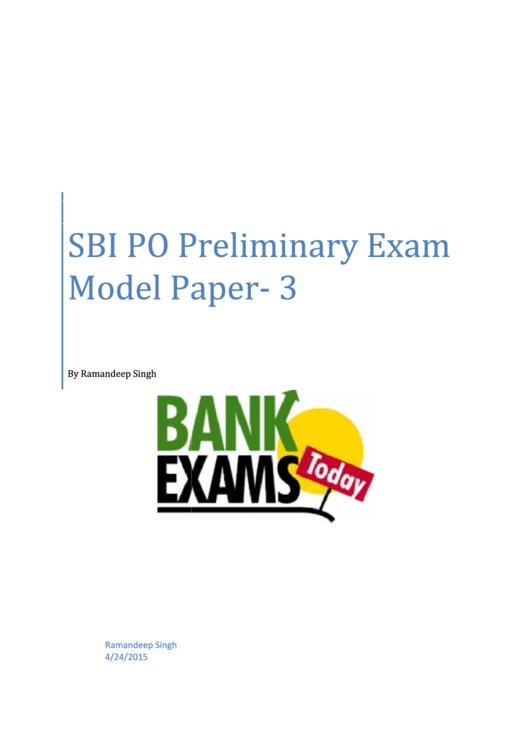 Sbi Po Preliminary Exam Exam Template With Answers