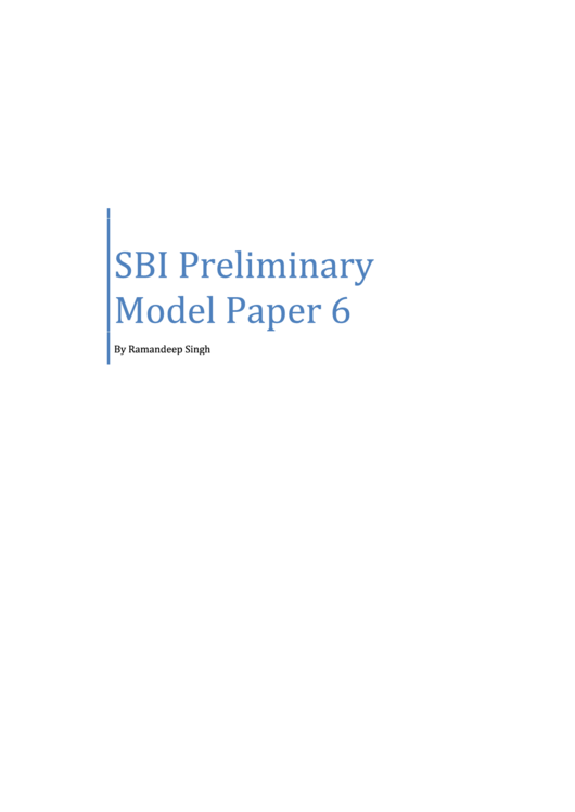 Sbi Preliminary Exam Template With Answers
