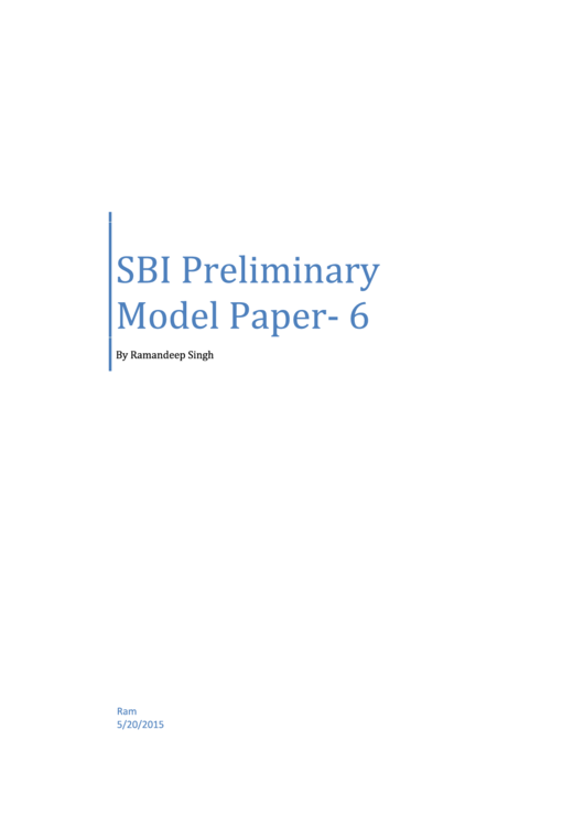 Sbi Preliminary Model Paper Exam Template With Answers