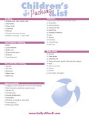Children's Packing List