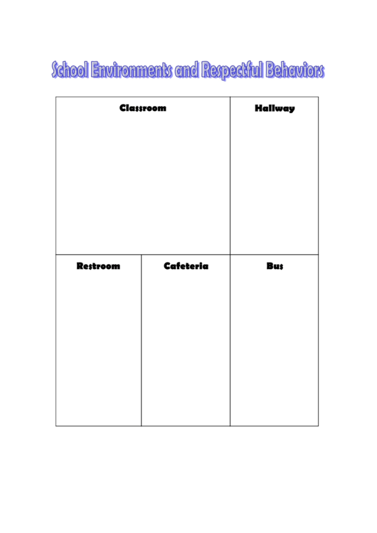 School Environments And Respectful Behaviors Chart Template