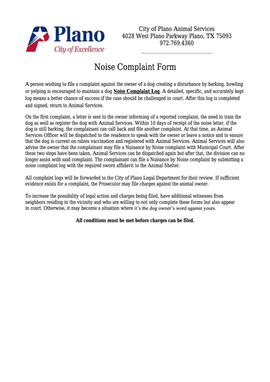 Noise Complaint Form Printable pdf